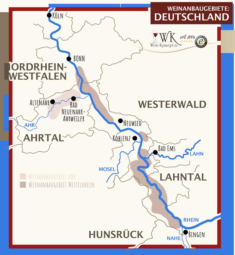 Weinanbaugebiete Ahr und Mittelrhein