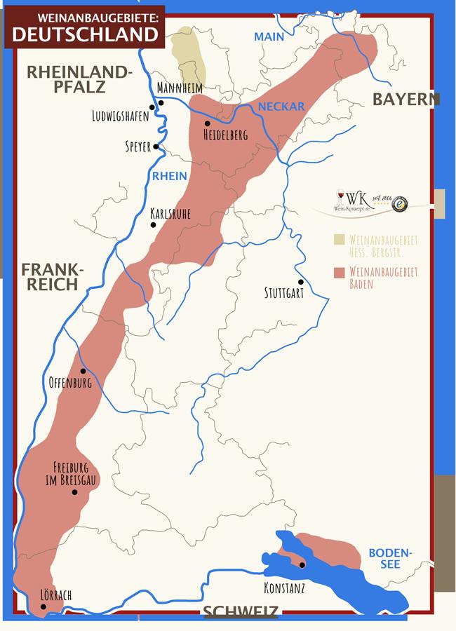 Weinanbaugebiete Hessische Bergstraße und Baden