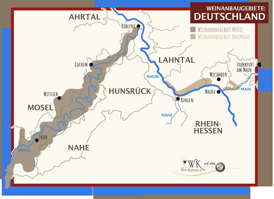 Weinanbaugebiete Mosel und Rheingau