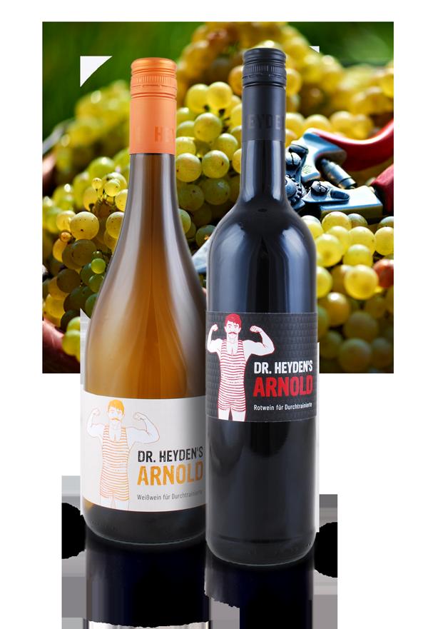 Zwei Arnold-Weine von Doktor Heyden mit Traubenfoto